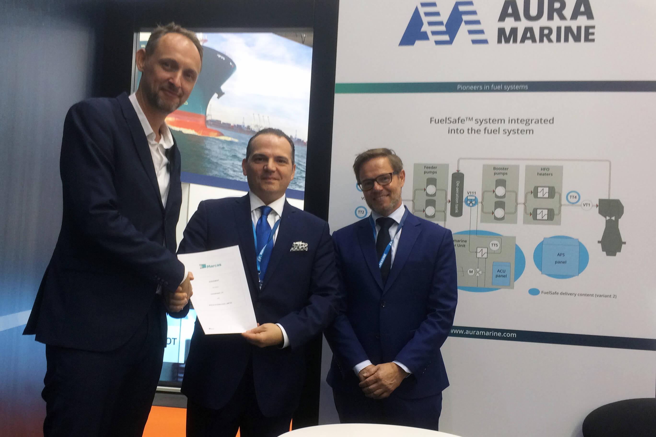 Jesper Bak Weller, Managing Director at MARCAS International Ltd; Konstantinos Fakiolas, Director Global After Sales at Auramarine; Ole Skatka Jensen, CEO at Auramarine